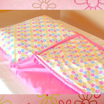 Toddler Nap Mat Or Play Mat With Attached Pillow And Blanket with Flower Design