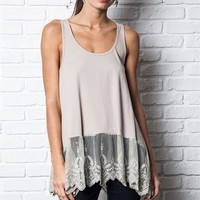 Foi Clothing Boutique — Ribbed Tank With Lace Trim