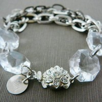 Chain Statement Bracelet, Shabby N Chic, Clear Crystal and Antiqued Chain