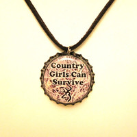 Camo Country Girls Can Survive Browning Bottlecap Adjustable Black Leather Bracelet