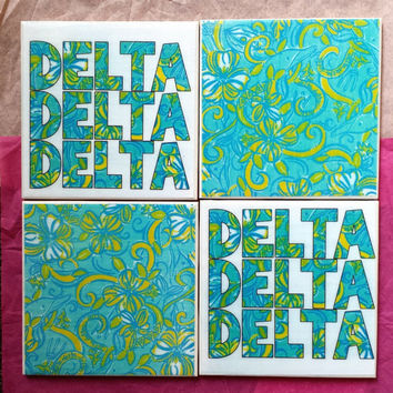 Tri Delta Sorority Lilly Pulitzer Inspired Ceramic Tile Coasters