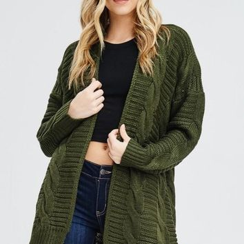 Lara Cable Knit Cardigan Sweater