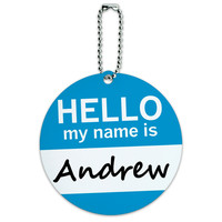 Andrew Hello My Name Is Round ID Card Luggage Tag