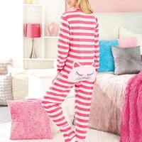 Women's Animal Seat Footed Pajamas-CAT!  From Size Small to Plus Size.