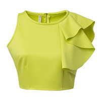 Light Green Sleeveless Crop Top with Ruffle detail
