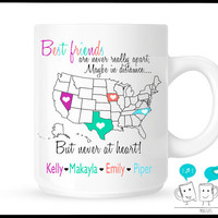 Personalized Friendship, Best Friends,  Saying Goodbye, Moving Away, Unique Coffee Mug, Far away friend, Going away gift