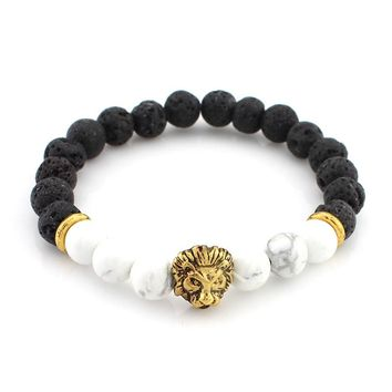 Lava Stone With White Jasper Lion Head