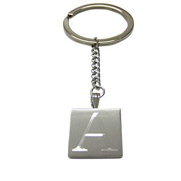 Letter A Etched Monogram Pendant Keychain