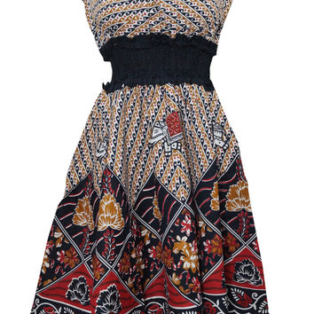 Bohemian Dress V-neck Floral Printed Cotton Colorful Peasant Dresses