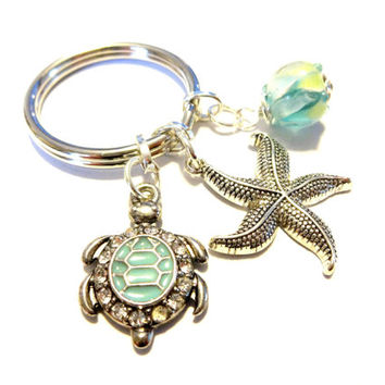 Turquoise Sea Turtle Keychain, Aqua Lampwork Bead Drop, Silver Starfish Charm Keychain, Starfish Pendant, Summer Accessory, For The Beach