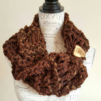 Knit wool Brown tweed cowl  Button scarf. Knit Chunky cowl. Made by Bead Gs on ETSY.  infinity cowl.