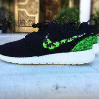Custom Nike Roshe Cannabis design, 420 design, cannabis plant design, hand painted with gold speckles, men sizes
