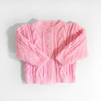 Hand Knitted Baby Cardigan - Pink, 9 - 12 months