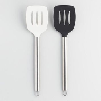 Black and White Silicone Slotted Spatulas Set of 2