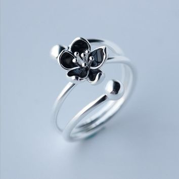 "Vintage ""Mystic Floral"" Authentic 100% 925 Sterling Silver Ring Black Bud Flower Multi Layer Romantic Ring For Women Gift Girls"