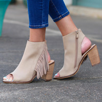 Poca Fringe City Bootie Sandal by VERY VOLATILE {Taupe}