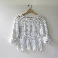 90s white crochet shirt. cut out top. sheer cropped shirt.