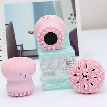 New Korean Octopus Design Women Facial Cleansing Brush Massager and Exfoliator Waterproof Face Cleanser Massager Silica Brush