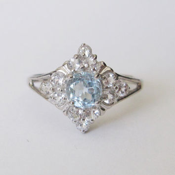 14k Estate Vintage Natural Blue White Topaz Gold Art Deco Edwardian Georgian Antique style Princess Ballerina Engagement Birthstone Ring