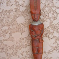 African Hand Carved Wooden Spoon Mother Child Tribal Wood Carving Wall Hanging Art Sculpture