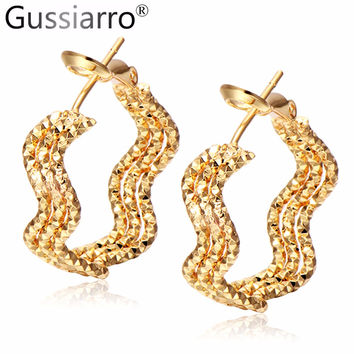 Rock Three Round Gold Plated / Platinum Plated Big Hoop Earrings