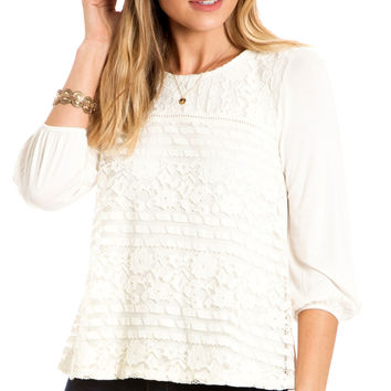 New Brew Ivory Lace Front Top