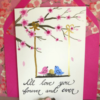 Valentines Day Pink Cherry Blossom Watercolor and Calligraphy Cards Set of 5