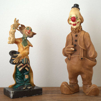 Vintage Italian Clown Figurines,  Hallmark Andreol Clown Figurine,  Magician Clown Statue