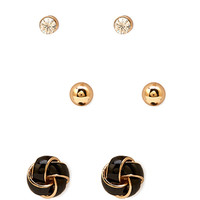FOREVER 21 Knot Stud Set Gold/Black One