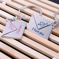 Fashion Lovers gift keychain couple Love Lettering key chain One Pair Key Ring K-265 = 1930114500