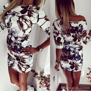 Dresses For Women Party Night Club Sexy Vintage Dress Vestidos Floral Print Elegant Bodycon Sheath Dress