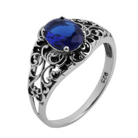 Antique STYLE jewelry sapphire women 925 sterling silver ring Alternative Measures