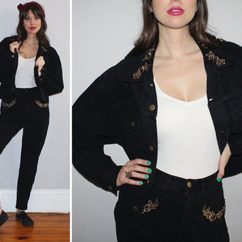 Vintage 90s GUESS Marciano High Waisted Jeans + Jean Jacket MATCHING SET / Black Faded Denim / Metallic Embroidery, Gold Zip Ankle / Large