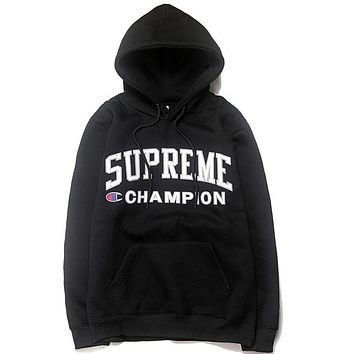 Supreme X Champion Fashion Hip Hop Skateboard Women Men Letter Print Hoodie Sweater Top Black