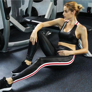 Hot Sale Women Yoga Sets Gym Elastic Running Sport Suit Fitness Clothing Workout Sport Wear Sports Bra+Pant Imitation Leather
