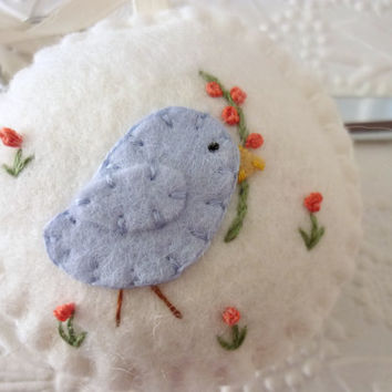 Felt Bird Pincushion Flower Fob Scissor Charm Penny Rug Felted Wool Applique