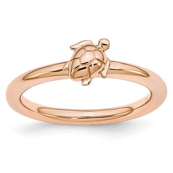 Rose Gold Tone Plated Sterling Silver Stackable 8mm Sea Turtle Ring