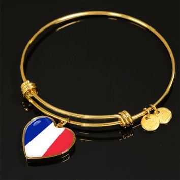 French Pride - 18k Gold Finished Heart Pendant Bangle Bracelet
