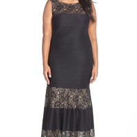 Plus Size Women's London Times Lace Inset Pintuck Pleat Maxi Dress,