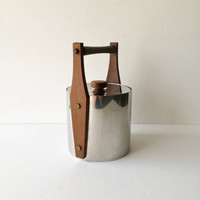 Vintage Danish Modern Teak and Stainless Ice Bucket Fraser's 18-8 Sweden, Midcentury Ice Bucket Stainless Steel and Wood Wishing Well Style