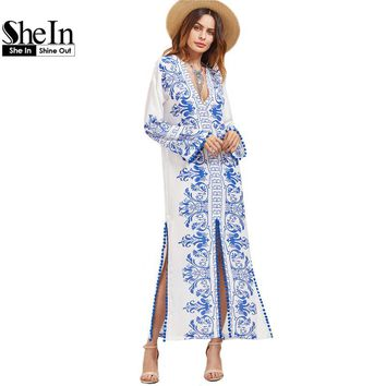 SheIn Ladies Spring Dresses 2017 Blue and White Vintage Print Boho Dress Deep V Neck Long Sleeve Pom-pom Trim Slit Maxi Dress