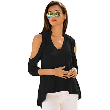 Black Cold Shoulder Ruffle Top