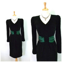 Vintage Dark Emerald Velvet Dress Taffeta Bow Wiggle gown Long sleeves Evening Cocktail Dress