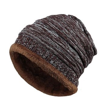 Mens Fleece Cap Baggy Striped Cashmere Beanie Hat Fashion Women Knit Wool Hats Casual Unisex Skullies Beanies