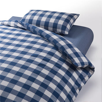 On Sale Hot Deal Bedroom Rinsed Denim Cotton Plaid Bedding Bedding Set [6451766470]
