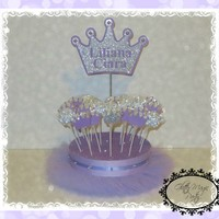 Silver Crown Princess - Lavender Tutu Stand - Cakepops or Lollipops Stand - Princess Decoration - Crown Personalized Name