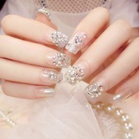 24pcs/Set Pretty Silver Rhinestone Bride Nail Art Tips Middle Long  Square Pre-design Acrylic Artificial Fake Nails with Glue