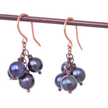 Wire Wrapped Pearl Cluster Earrings // Bohemian Copper and Indigo Blue Earrings  // Bohemian Tribal Jewelry