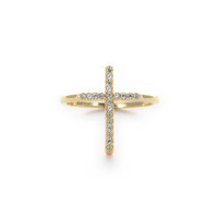 Large CZ Cross Ring
