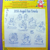 "Aunt Martha's ""Angel Tea Towels"" Hot Iron Transfer Pattern 3956 for Embroidery, Fabric Painting, Needle Crafts"